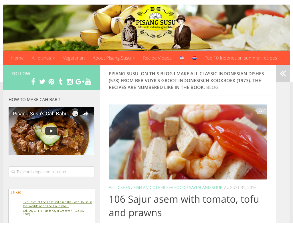 Op het blog worden alle 587 recepten uit het Beb Vuyk's Groot Indonesisch Kookboek gemaakt, gefotografeerd en beschreven. Enak!
